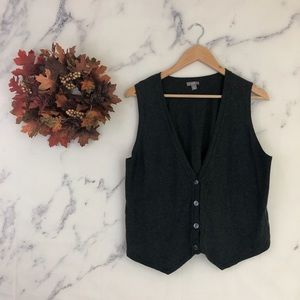 J. Jill V-Neck Knit Sweater Vest in Charcoal Grey